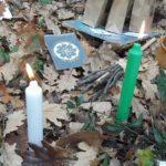 Autel Imbolc 2 bougies verte et blanche